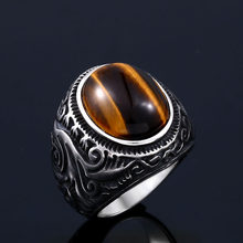 Beier 316L stainless steel Vintage White and Tiger Eye Brown Eye Men's Ring Fashion High Quality Jewellery LLR8-699R(China)