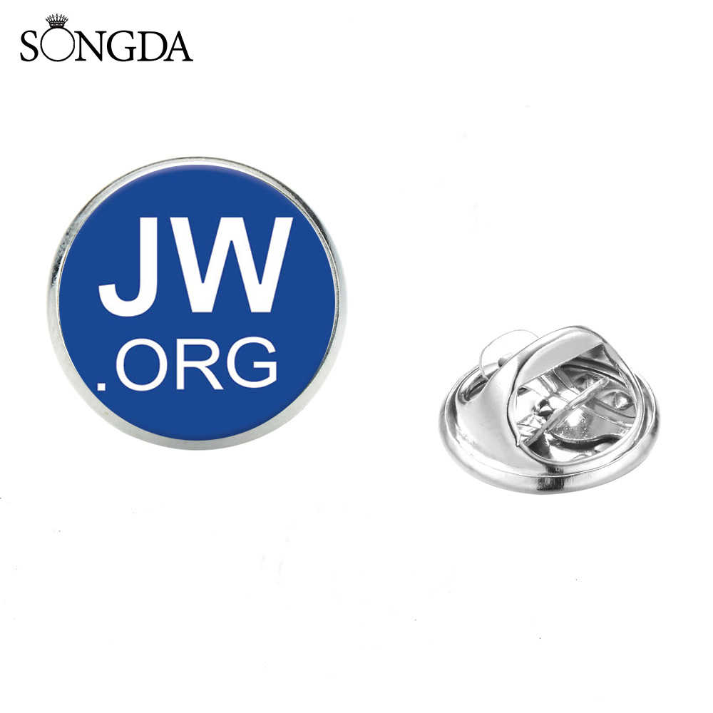 Songda 2019 JW ORG Stainless Steel Bros Biru Saksi-saksi Yehuwa Simbol Kerah Pin Glass Photo Cabochon Bros Iman Perhiasan