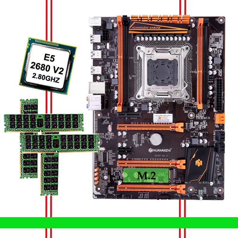 Descuento de hardware de computadora HUANANZHI Deluxe descuento X79 Placa base con M.2 NVMe CPU Xeon E5 2680 V2 SR1A6 RAM 32G (4*8G) RECC