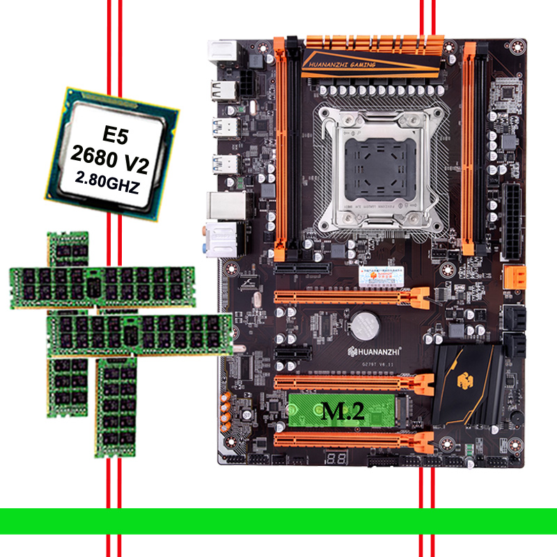 Discount Computer Hardware HUANANZHI Deluxe Discount X79 Motherboard With M.2 NVMe CPU Xeon E5 2680 V2 SR1A6 RAM 32G(4*8G) RECC