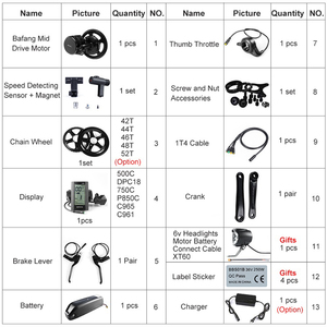 Image 3 - Bafang – Kit de conversion de vélo électrique BBS02B, 68 73mm, 48V 750W, pour moteur 52V 14Ah, avec batterie de portable Samsung 48V 12Ah 17.5Ah