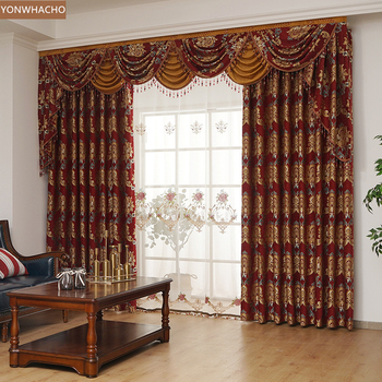 Custom curtains American living room bedroom high-precision jacquard red thick cloth blackout curtain valance tulle panel C065