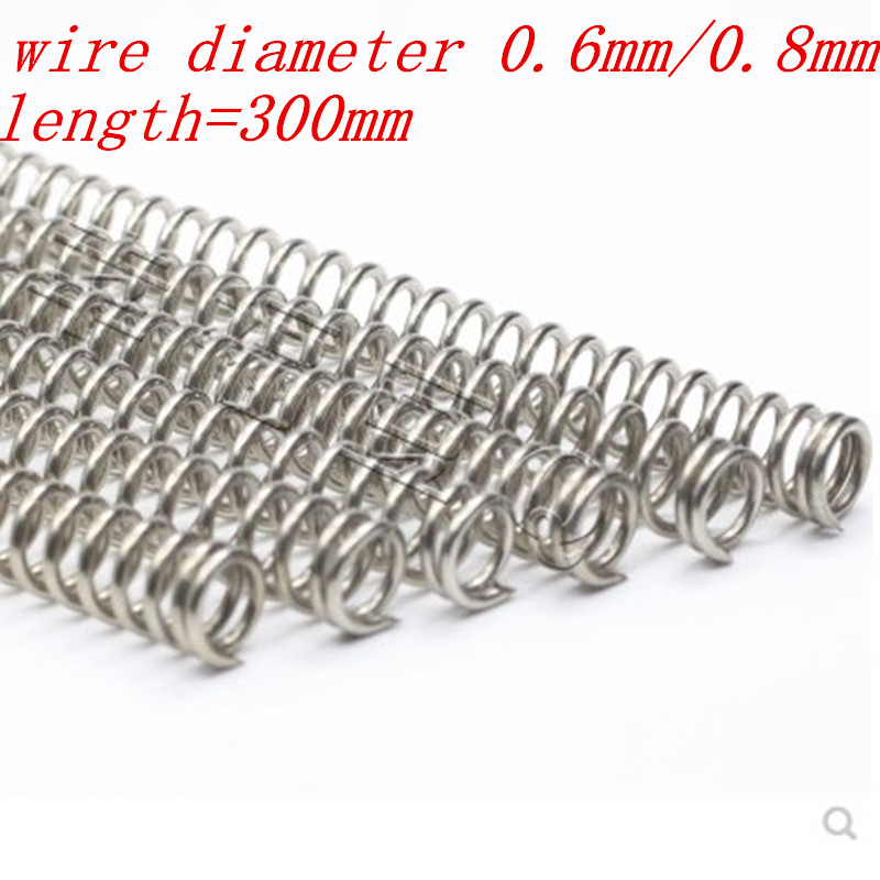2pcs/lot 0.6mm 0.8mm 304 Stainless Steel Long Spring Y-type Compression Spring Outer Dia 5-12mm Length 300mm(China)