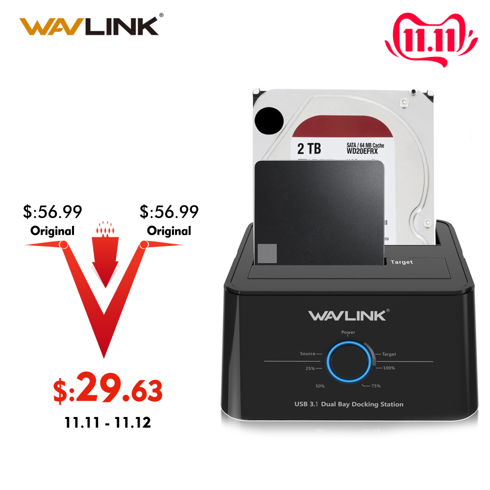 "Wavlink USB C 3.1 To SATA Dual Bay External Hard Drive Docking Station For 2.5/3.5"" HDD/SSD Offline Clone/Backup/UASP Functions"