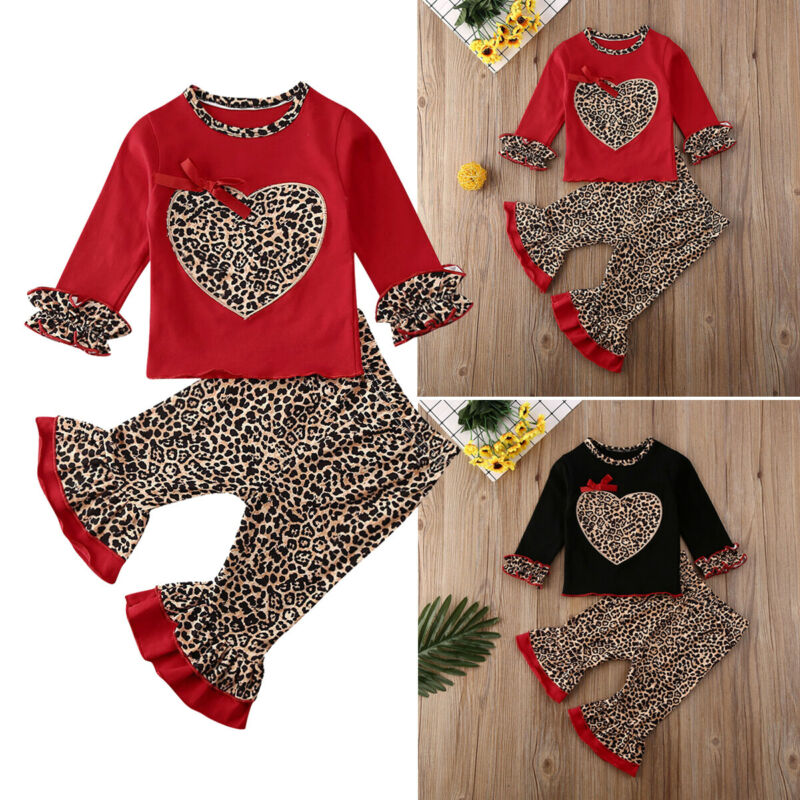 2020 Summer Autumn UK Baby Girls Heart Leopard Printed Outfits Set Tops Pants Kids Newborn Clothes