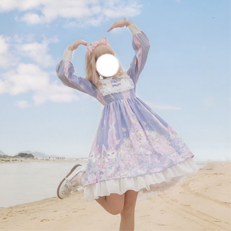 Harajuku Lolita dress Cosplay Female Dress Japanese Soft Sister Gothic Style Star Tulle Kawaii Dress Lolita Cute Girl Dress