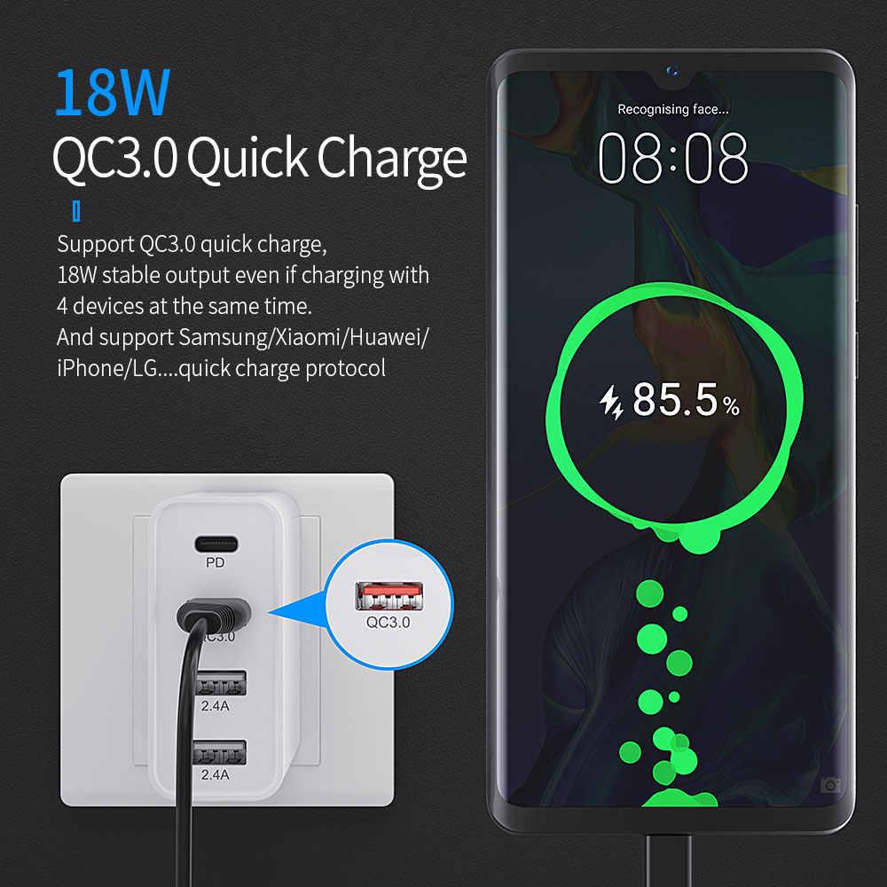 Essager 48W Multi Pengisian Cepat 3.0 Usb Charger PD USB Tipe C QC3.0 QC Turbo Dinding Fast Phone untuk iPhone 11 Pro Max Xiaomi