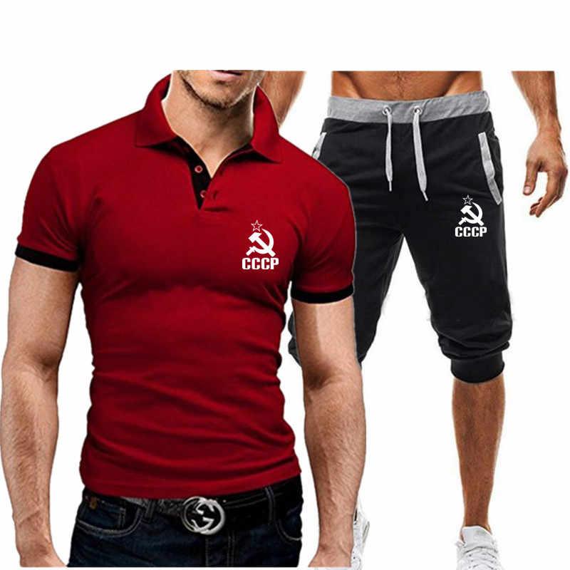 2020 Nieuwe Cccp Russische Ussr T Shirts + Shorts 2 Stuk Harajuku Mode Revers Korte Mouwen T-shirts Toevallige Tee shirts Man T-shirt