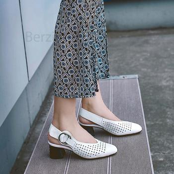 BERZIMER 2020 LEATHER Women Mid Block Chunky Heels Pumps Summer Sandals Zapatos Tacones Altos Casual Shoes Woman Size 33 39 43