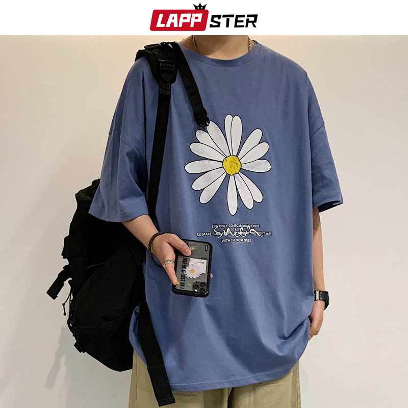 LAPPSTER Men Summer Flower Harajuku T-shirts 2020 Man INS Casual Japanese Streetwear White Tshirts Male Korean Cotton Clothing