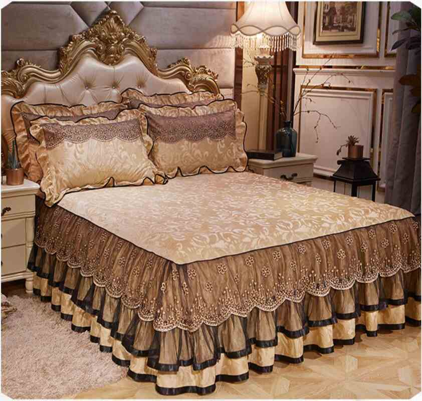 Winter Thick Velvet Bedding Bed Skirt Pillowcase 1/3pcs Lace Bedclothes Mattress Cover Warm Bedspread Bed Sheet Home Textile