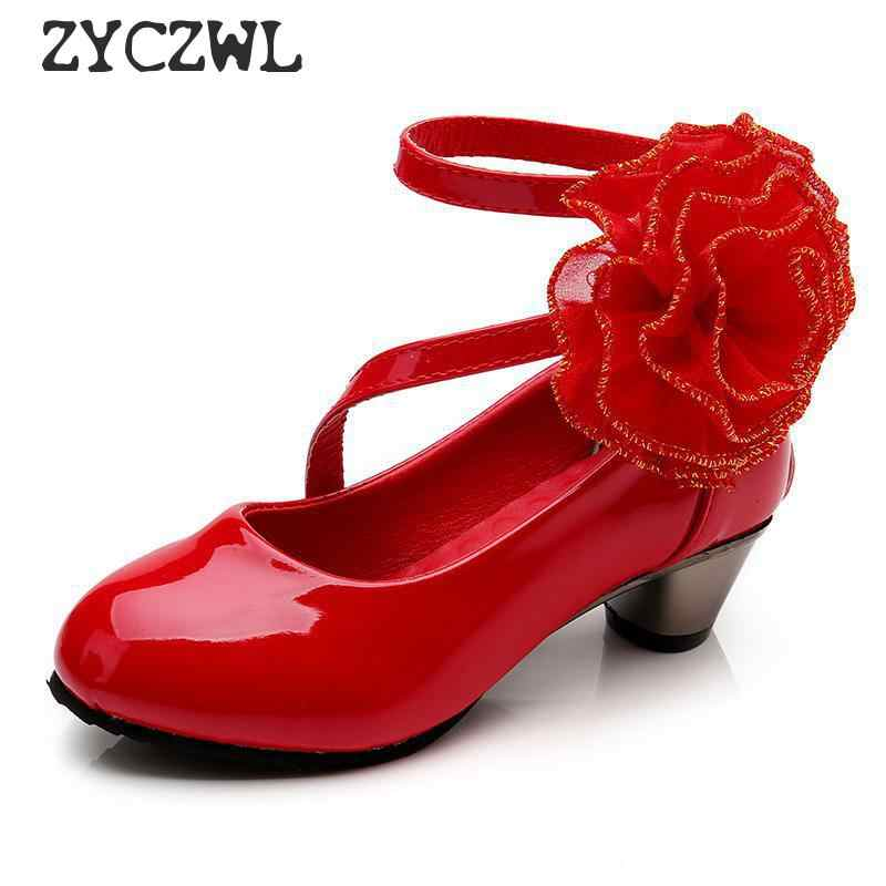 Flower Girls Leather Shoes Children Red