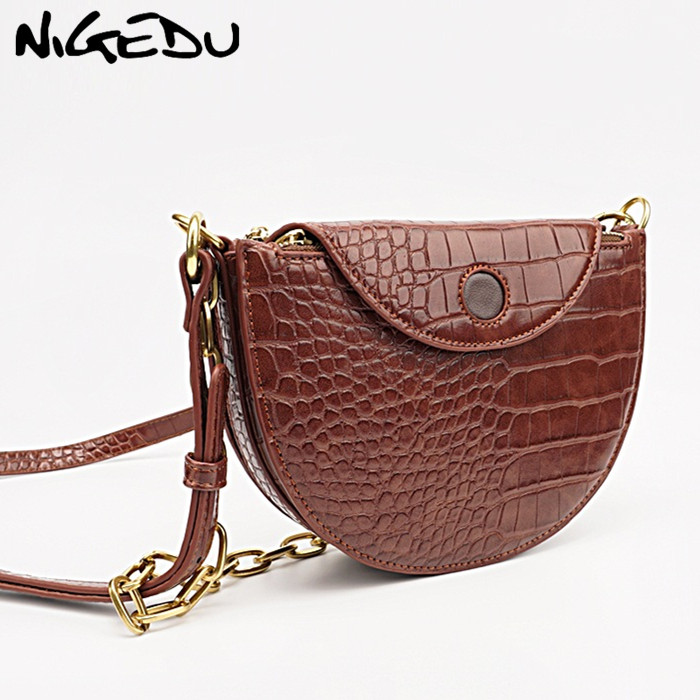 NIGEDU Fashion Alligator Leather Saddle Bag Luxury Women Shoulder Bags Small Round Handbag Female Chain Sling Crossbody Bags