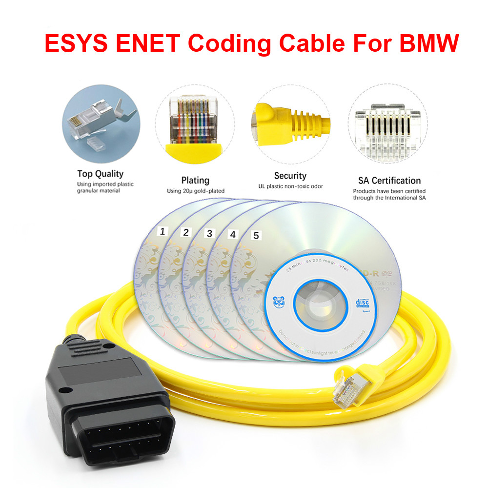 2020 ESYS ENET Car <font><b>Diagnostic</b></font> <font><b>Cable</b></font> For <font><b>BMW</b></font> F-serie Refresh Hidden Data E-SYS ICOM Coding OBDII OBD2 Diagnose Connector With CD image