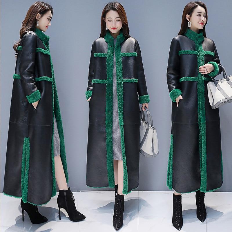 Women Lamb Fur Coat 2018 New Winter Plus Size Loose Long Fur Coat Two Side Wearing Suede Maix Furry Jacket Faux Leather Fur Coat
