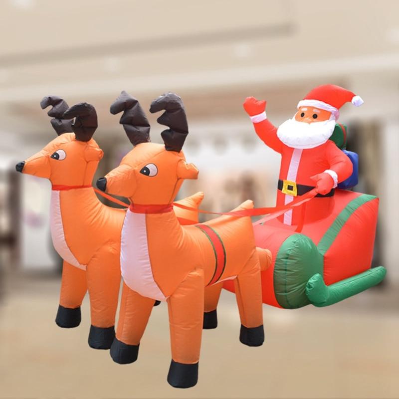 Prise ue noël gonflable cerf chariot noël Double cerf chariot père noël noël habiller décorations bienvenue accessoires - 6
