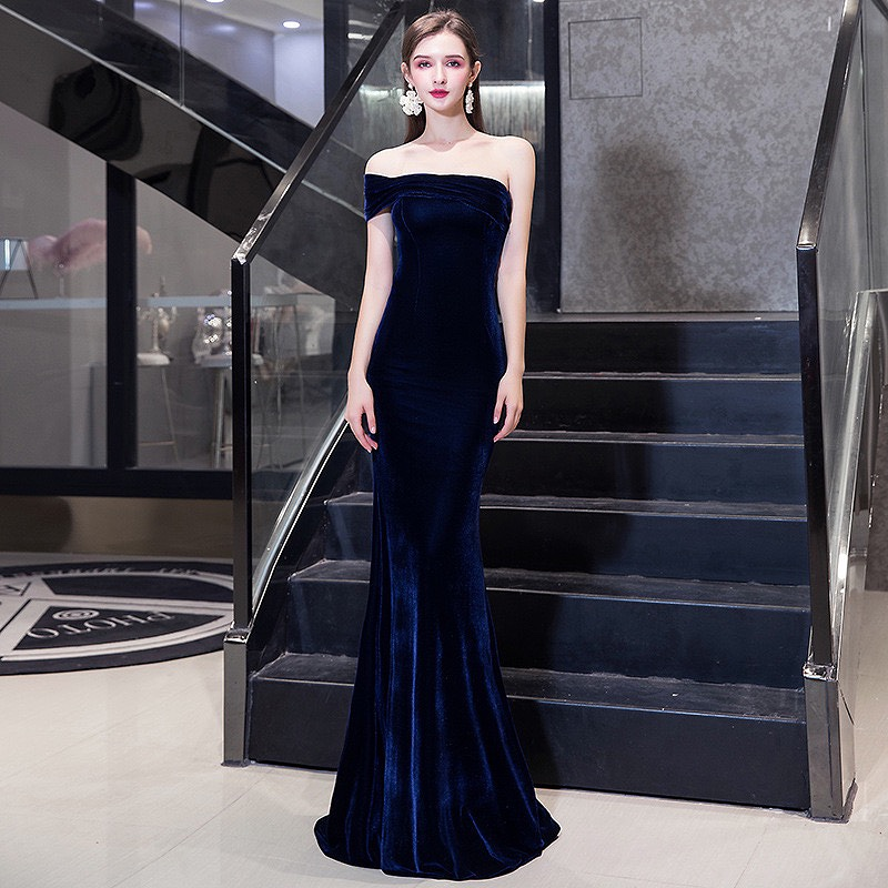 Velvet Navy Blue Celebrity Dress Mermaid Off One Shoulder Backless Sexy Ceremony Prom Dresses For Wedding Christmas Party Guests