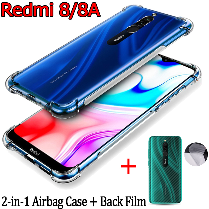 Airbag Case+Back Film for Redmi-<font><b>8</b></font> 8A Xiaomi Soft Anti-shock TPU Case Redmi <font><b>8</b></font> A Pelicula Phone Cases Redmi8 Xiaomi Redmi <font><b>8</b></font> Cover image