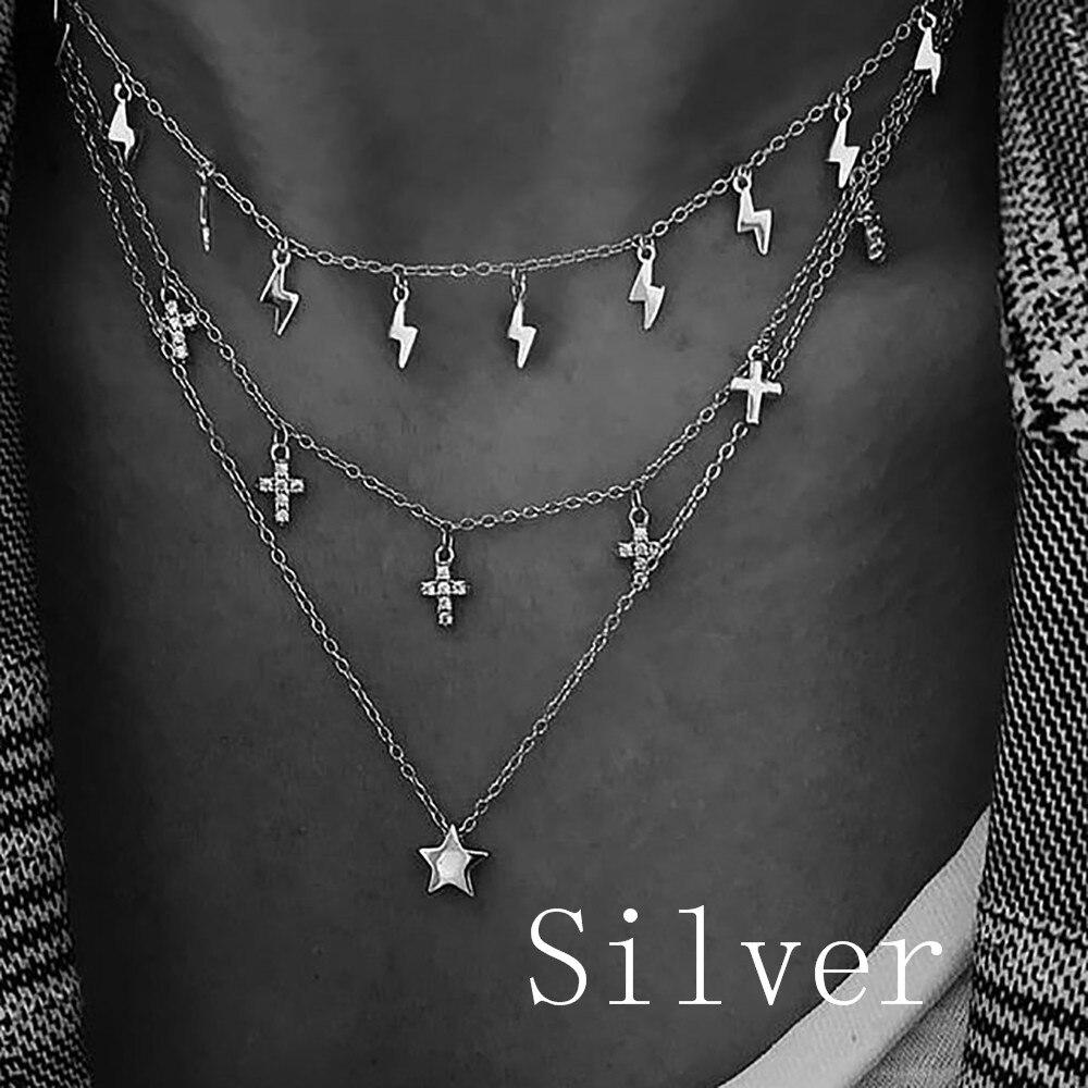 Fashion Gold Lightning Round Sequins Eye Crystal Pentagram Cross Pendant Necklaces For Women Necklace Female Boho Jewelry
