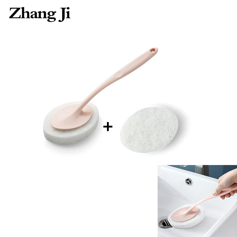 ZhangJi Long Handle Cleaning Brush Bathroom Kitchen Toilet Sponge Quality Scouring Pad Strong Decontamination