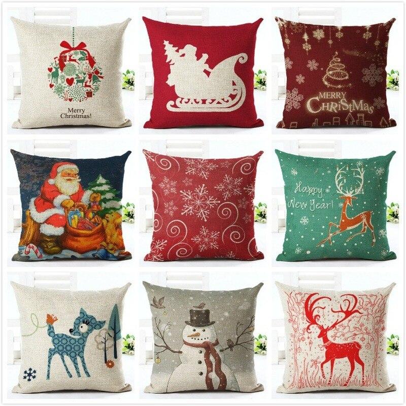 Cute Cartoon Elk Christmas Cushion 45*45cm New Year Festival Home Decorative Bed Sofa Car  Pillow