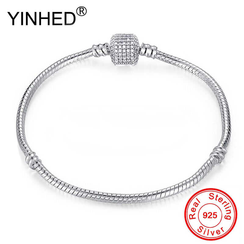 90% OFF! YINHED Hot Sale Solid 925 Sterling Silver Charm Bracelet for Women Original DIY Jewelry Making Gift ZB036