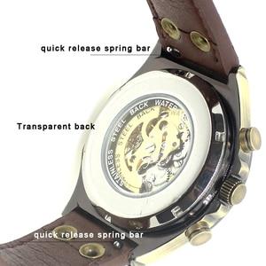 Image 5 - Mechanical Watches Steampunk Bronze Automatic Watch Men Vintage Transparent Skeleton Watch Man Clock montre homme Ship 24 Hours