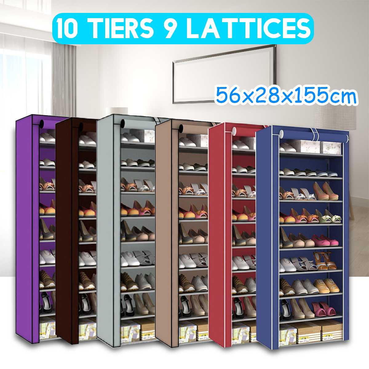 Shoe Rack 9 Tier Shoe Shelves Dust-proof Shoe Cabinet Non-woven Cloth Shoe Storage Stand Holder DIY Assembly Shoe Organizer Rack