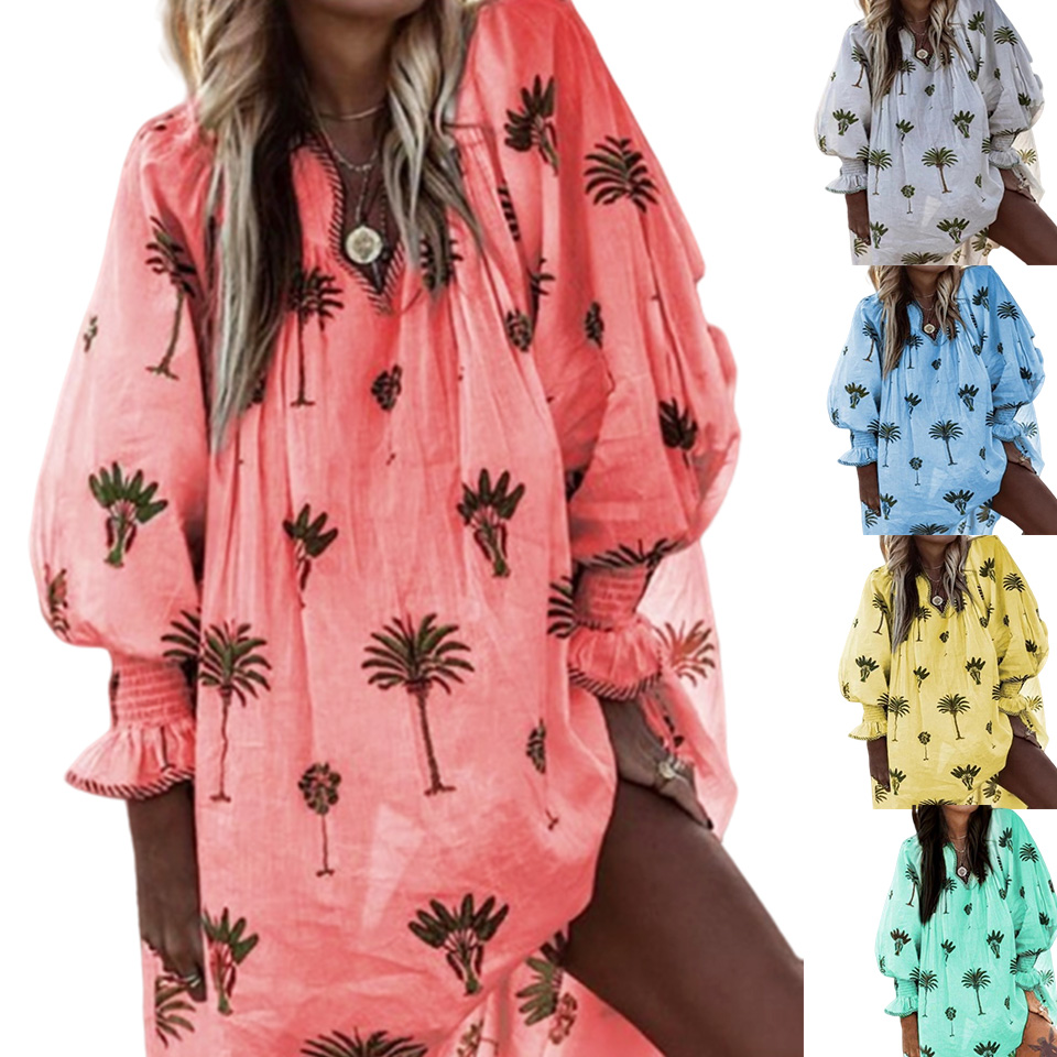 Plus Size Dresses For Women 3xl 4xl 5xl Hipster Tree Printed Lantern Sleeve Dress Sukienka Deep V Neck Plunge New Fashion Loose image
