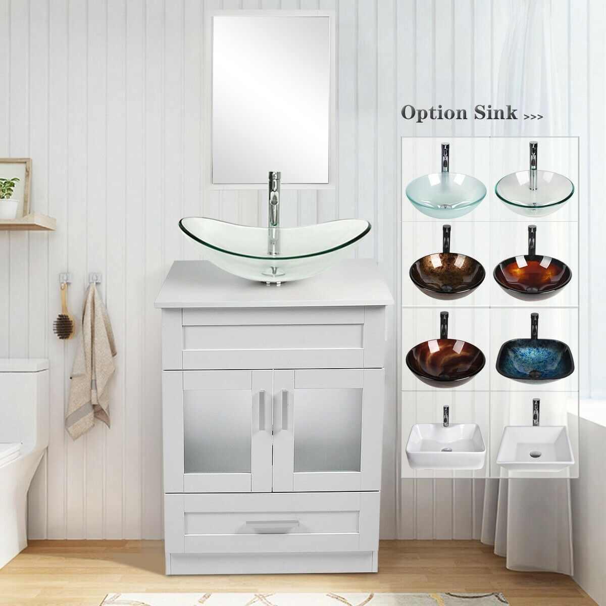 24 Bathroom Vanity White Cabinet Single Top Vessel Sink Faucet