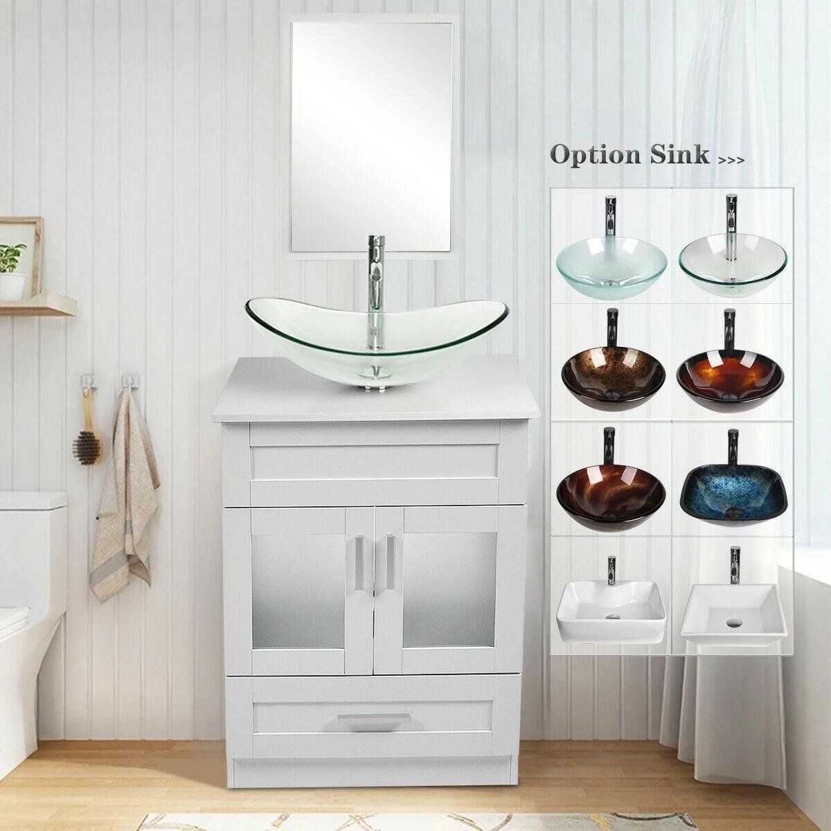 bathroom vanity 24 inch white cabinet single top vessel sink faucet drain combo set