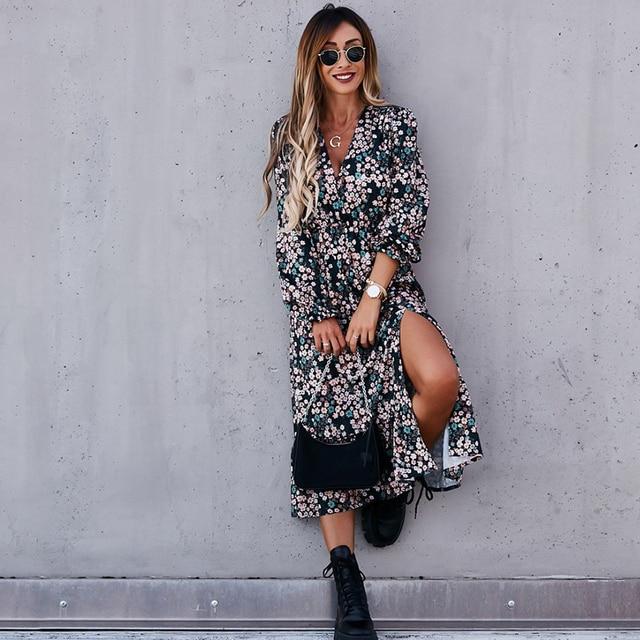 Autumn V Neck Long Floral Print Dress For Women 2021 Casual Long Sleeve Split Dress Female Boho Elegant Maxi Party Vestidos 3