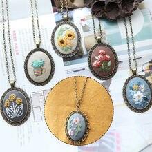 Collar DIY Kit de costura de bordado flor conjuntos de punto de cruz con aro Swing hecho a mano de artesanía nuevo coser a mano colgantes caliente