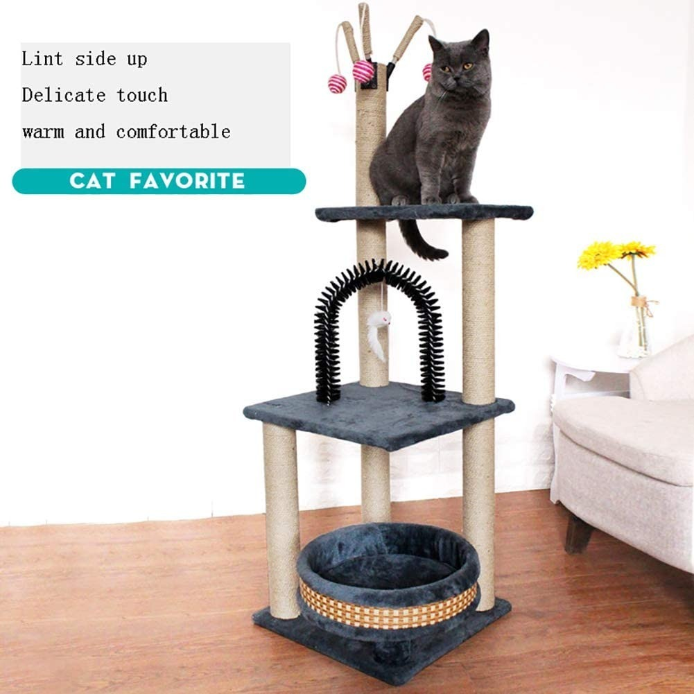 Luxury <font><b>Cat</b></font> <font><b>Tower</b></font> <font><b>Tree</b></font> Condo Furniture Kitten Activity Climing Scratcher <font><b>Tower</b></font> <font><b>Pet</b></font> Kitty Play House with Scratching Post Perches image