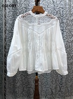 High Quality Cotton Blouses 2020 Spring Summer Tops Women Hollow Out Lace Embroidery Patchwork Long Sleeve Loose Tops White