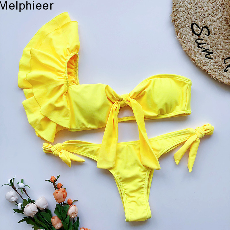 2020 Summer Women Scrunch Butt Yellow Bikini Sexy Lady's Chest Bow Swimsuit Ruffle Swimwear Women Bathing Suit Swimming Suits