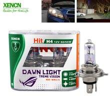 Xencn farol automotivo, farol de carro super brilhante h4 12v 60/55w 3800k, segunda geração, com frete grátis 30% mais ligh 75m feam 2 peças