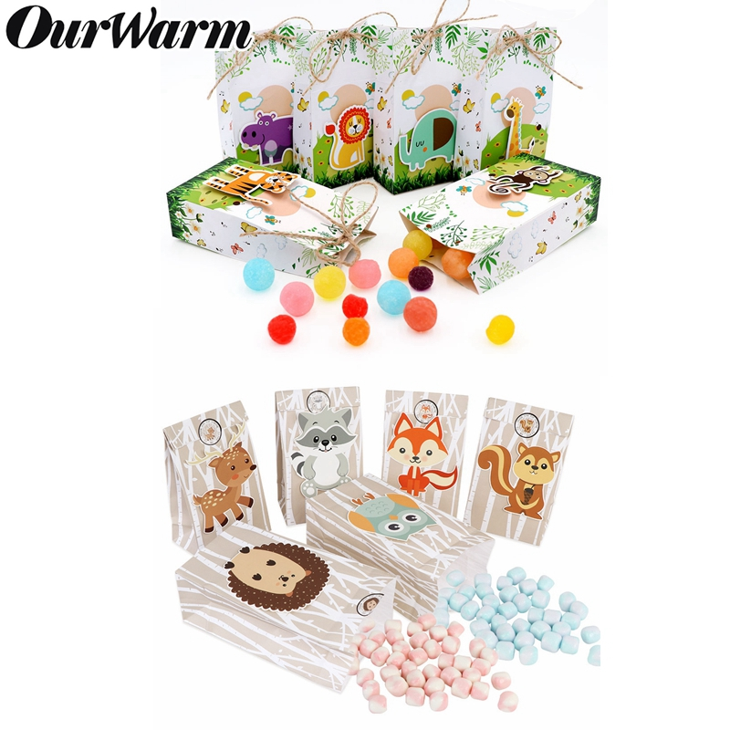 OurWarm Safari Paper Gift Bags Baby Shower Birthday Party Supplies Candy Bags Jungle Theme Party Decoration Favor Bags