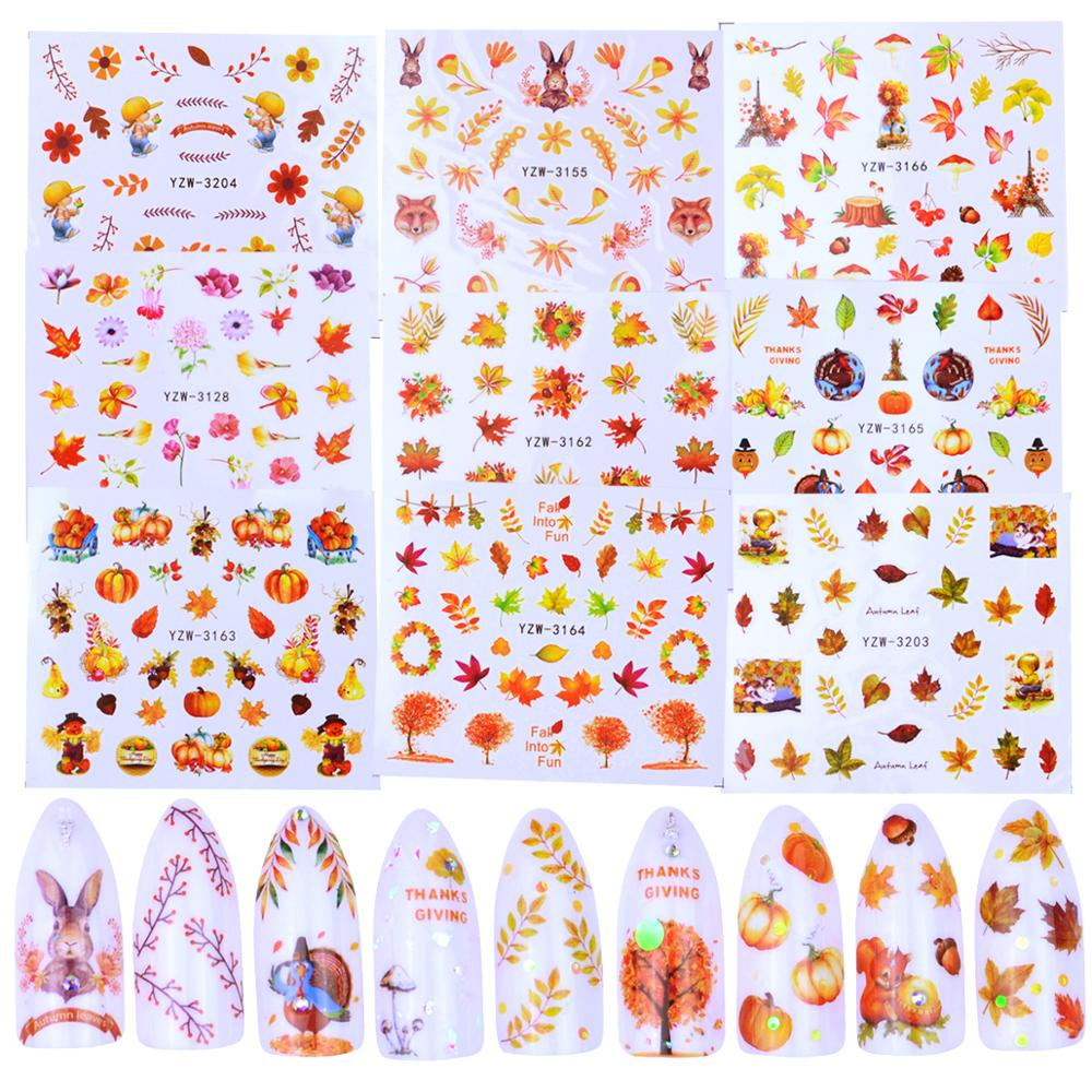 1 Sheet Fall Yellow Gold Sticker For Nails Maple Leaf Slider Decals Water Tattoo Nail Art Autumn Polish Manicure Wraps