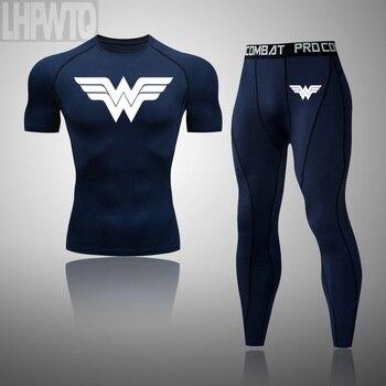 Wonder Woman Men's full Suit Compression Sport Suit Gym joggers Running Short sleeve Shirts leggings Basketball sportwear 19