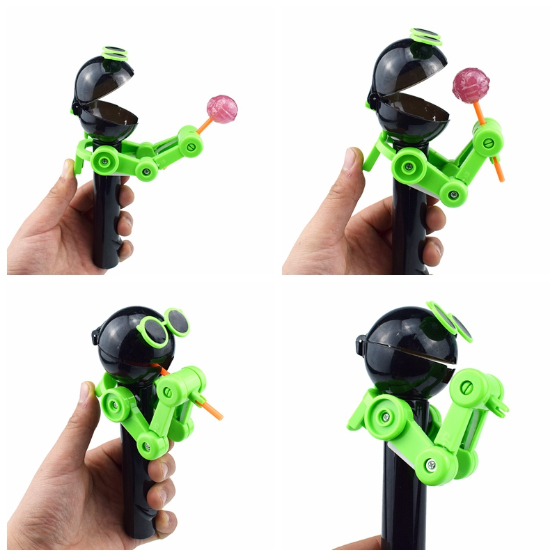 2019 Newest Cute Creative Personality Toys Lollipop Holder Decompression Lollipop Robot Candy Dustproof Toy Gift Random Color