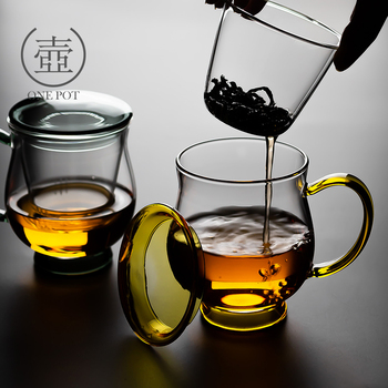 Creative flower tea cup office three piece transparent glass cup with filter household drinking making tea mug