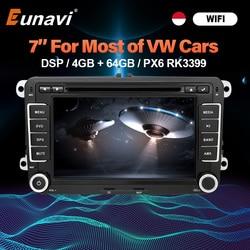 Eunavi 2 Din Android Авто DVD автомобильное радио мультимедиа для VW GOLF 5 Polo Bora JETTA B6 PASSAT Tiguan Шкода Октавия, Шкода Туран GPS DSP