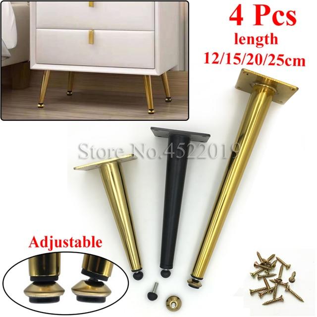 4Pcs/Set Furniture Adjustable Table Legs Metal Tapered Sofa Cupboard Cabinet Furniture Leg Feet 12/15/20/25 Stool Chair Leg Feet