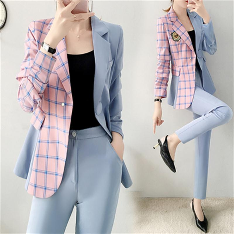 Fashion Pants Suit Female Spring Fall New High End Stitching Plaid Business Suit + Pant Two-piece Casual Suit Women