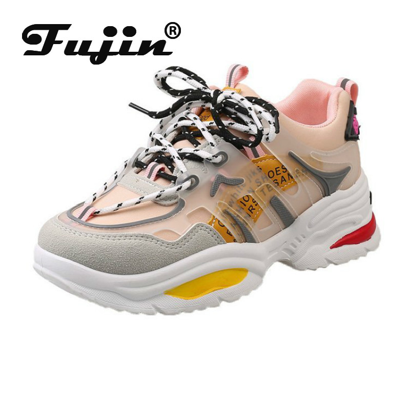 Fujin Women Sneakers 2020 Spring Fashion Chunky Shoes Platform Mixed Colors Breathable Thick Bottom Causal Shallow Women Shoes