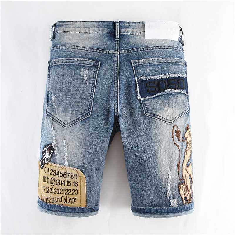 Summer New Style Denim Shorts Korean-style Straight Men's Youth Men's Trousers Large Size Short Embroidered Lion Jeans