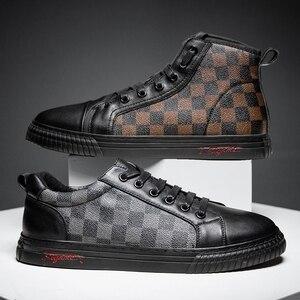 Zapatos informales de alta calidad para hombre, zapatillas de cuero estiloso de suela baja, estilo Simple, tendencia superior, 2020