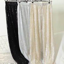 2020 женские блестящие широкие брюки с блестками свободные эластичным