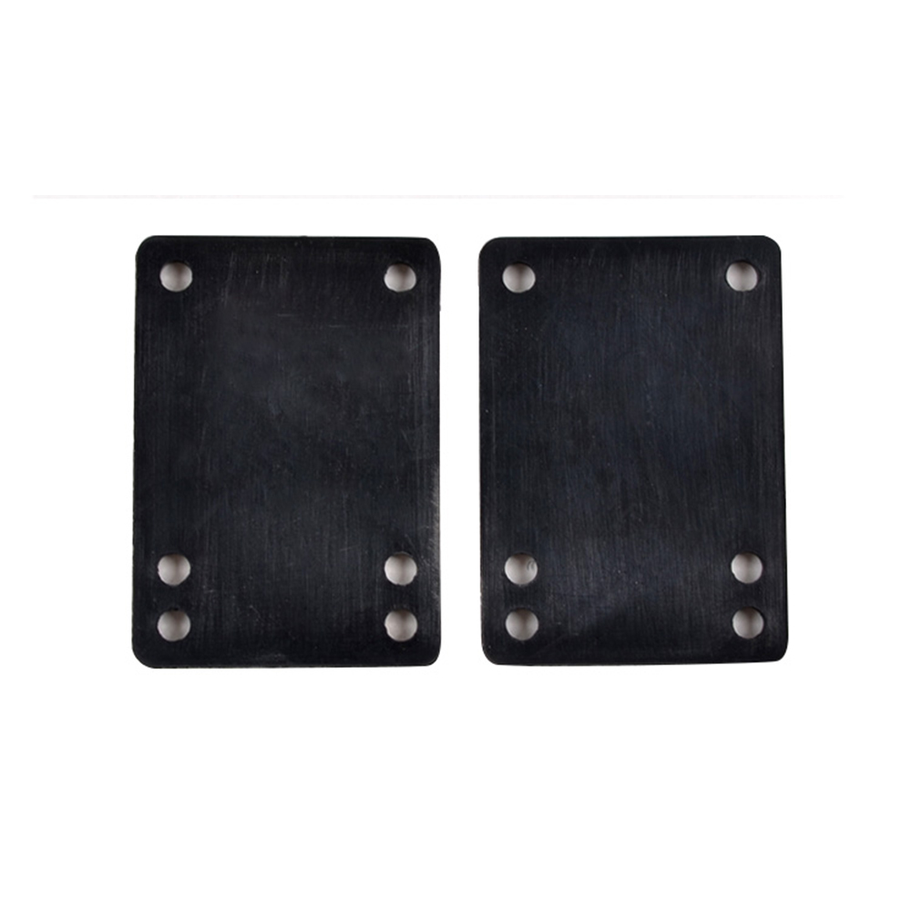 2PCS Damping Shock Proof Black PU Riser Pad Spacer Durable Soft Skateboard Gasket Universal Six Holes Longboard Protection